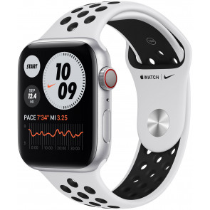 Apple Watch Series 6 Nike GPS+Cell, 44mm Alu Silber, Nike Sportarmband Pure Platinum/Schwarz