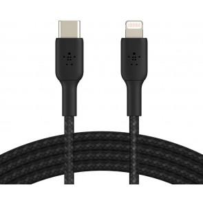 Belkin Lightning auf USB-C Kabel, ummantelt, 3m, schwarz
