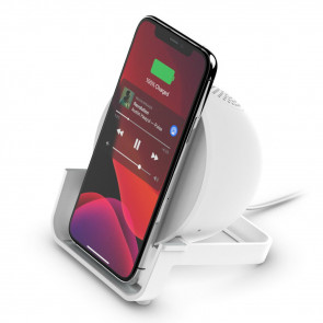 DEMO: BoostCharge Wireless Charging Stand + Speaker, Weiss, Belkin