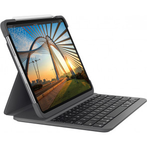 "Logitech Slim Folio Pro, 12.9"" iPad Pro (2018 /2020), CH-Tastatur/ Hülle, Carbon schwarz"