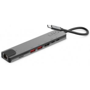 Linq USB-C Multiport Hub, 8in1 Pro, Schwarz/Grau