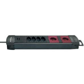 6x T13 Steckdosenleiste ohne Schalter, 3m, schwarz