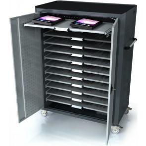 ateCart Notebookwagen für 32 MacBook oder iPad, ausziehbare Tablare